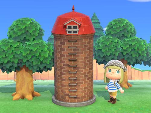 あつまれどうぶつの森 あつ森 サイロ 家具 赤い屋根