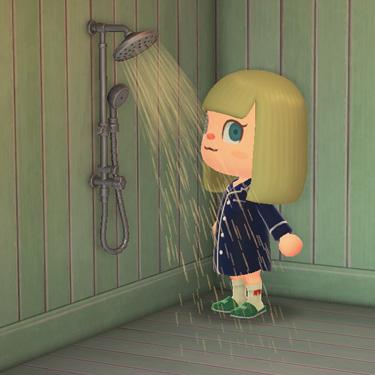 あつまれどうぶつの森 あつ森 シャワーセット シルバー 家具 風呂