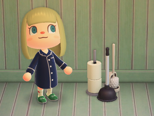 あつまれどうぶつの森 あつ森 トイレそうじセット トイレ掃除セット 家具 モノトーン