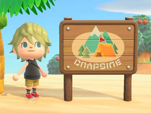 あつまれどうぶつの森 あつ森 キャンプじょうのかんばん キャンプ場の看板 ポケ森連動家具