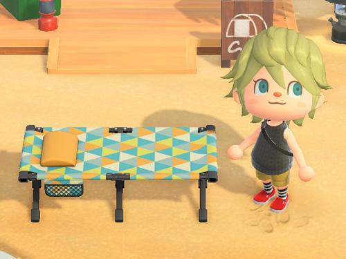 あつまれどうぶつの森 あつ森 キャンプベッド ポップパターン 家具