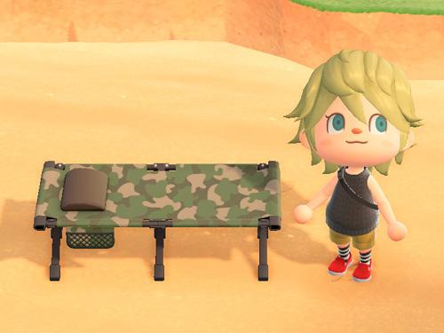 あつまれどうぶつの森 あつ森 キャンプベッド 迷彩 家具 キャンプ アウトドア