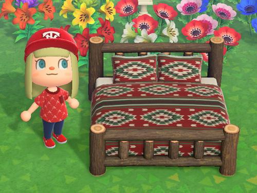 あつまれどうぶつの森 あつ森 まるたのベッド 丸太のベッド 家具 ダークウッド
