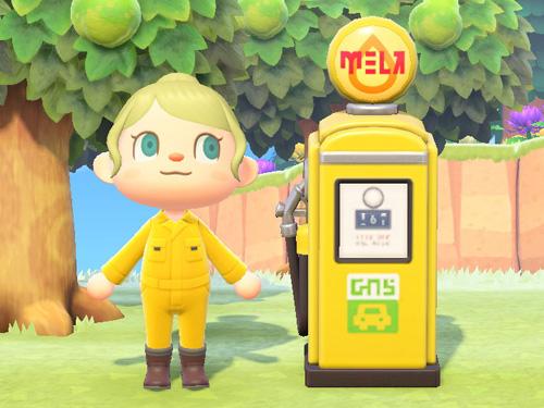 あつまれどうぶつの森 あつ森 レトロなきゅうゆき レトロな給油機 ガソリンスタンド イエロー 黄色