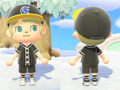 あつまれどうぶつの森 あつ森 ベースボールシャツ スポーツ お仕事 黒 ブラック