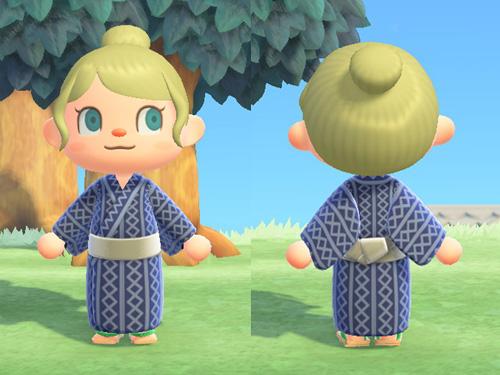 あつまれどうぶつの森 あつ森 かぶきなゆかた 歌舞伎な浴衣 リラックス ステージ バカンス 紺 こん 和服