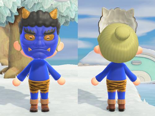 あつまれどうぶつの森 あつ森 オニのふく 鬼の服 ブルー 青 メルヘン ホラー 節分