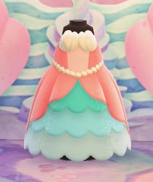 あつまれどうぶつの森 あつ森 マーメイドなプリンセスドレス 人魚 かわいい 服 ピンク