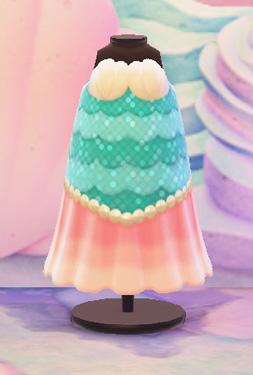 あつまれどうぶつの森 あつ森 マーメイドなおさかなドレス 人魚 かわいい 服 ライトブルー