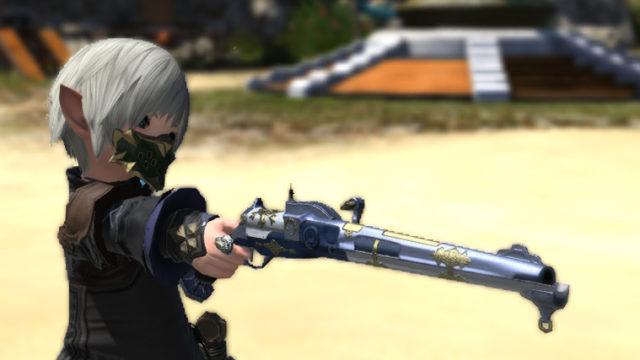 FF14 ミラプリ ララフェル クライヤーズカービン カッターズクライ 機工士 銃 青 白 かっこいい