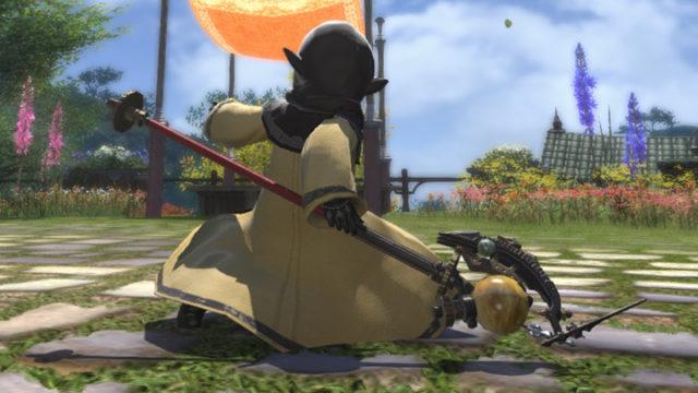 FF14 ミラプリ ララフェル ハードシルバーポール 黒魔道士 惑星 黄色 杖 かっこいい