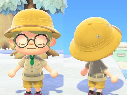 あつまれどうぶつの森 あつ森 たんけんぼう 探検 帽子 お仕事 アウトドア キャメル
