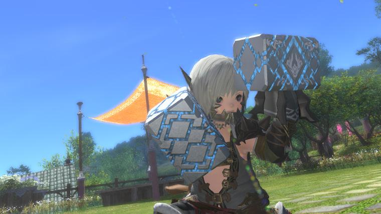 FF14 ミラプリ モンク 変形 銀色 青 シルバー 格闘武器 かっこいい ララフェル チタンナックル