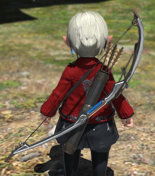 FF14 ミラプリ ララフェル ダークチェスナットロングボウ 吟遊詩人 小さい弓付き