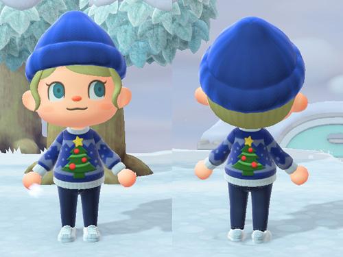 あつまれどうぶつの森 あつ森 クリスマスセーター パーティ リラックス ブルー 青